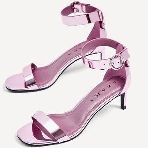 ZARA Metallic Sandals w Ankle Strap Size 7 BNWOT
